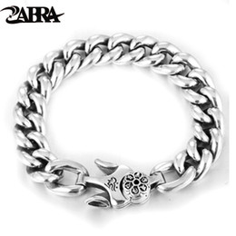 $enCountryForm.capitalKeyWord Australia - Zabra 925 Silver Bracelet Punk Charm Sterling Silver Spring Clasp Link Chain Bracelet Men Jewelry For 2017 C19021501