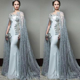 $enCountryForm.capitalKeyWord UK - Newest 2019 Arabic Mermaid Prom Dresses With Cape Sleeves Jewel Neck Formal Evening Wear Sequined Sweep Train Celebrity Party Gowns