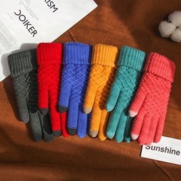 Korean gloves online shopping - Gloves Female Winter Touch Screen Fingers Knitted Yarn Korean style Brushed And Thick Warm Sweet Students Foreign Trade Manufact
