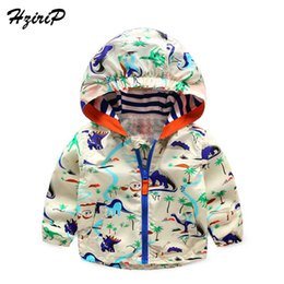 boys dinosaur jacket Canada - 2016 New Spring Autumn Clothes Baby Boys Girls Jackets Children Hooded Graffiti Dinosaur Printed Boys Outerwear Kids Windbreaker