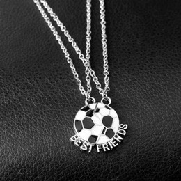 Free Gifts Friends Australia - 2pcs set New Football Buddy Best Friends Necklaces BFF Soccer Pendant Cute Friendship Jewelry Gift Free shipping