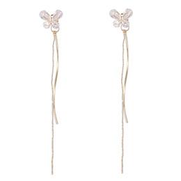 $enCountryForm.capitalKeyWord UK - Women Fashion 925 Sterling Silver bowknot Tassel Long Asymmetric Earrings Ear Line Women Jewelry boucle d'oreille E01527