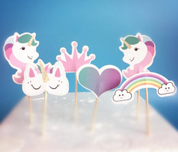 horse cupcake 2019 - Unicorn Cupcake Topper Rainbow Horse Cake Fruit Topper Pick for Children Birthday Party Decoration 240 pcs cheap horse c