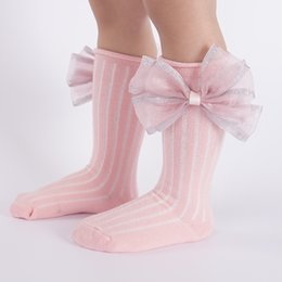 1f68ab326 Cute Children Socks With Bows Baby Girls Knee High Sock Cotton Toddlers  Long Socks For Kids Candy Color Infant Princess Sock