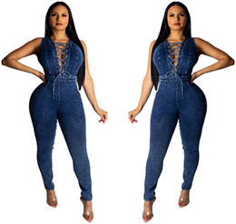Catsuit Zipper Xl Australia - Back Zipper Sleeveless Sexy Denim Jumpsuit Summer Front Cross Lace Up Body-con Catsuit Women High Waist Fashion Overall Deep Blue S-XL