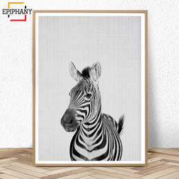$enCountryForm.capitalKeyWord Australia - Zebra Print Nursery Animal Wall Art Canvas Painting Anime Posters Modern Wall Painting Black and White Pictures for Kids Room