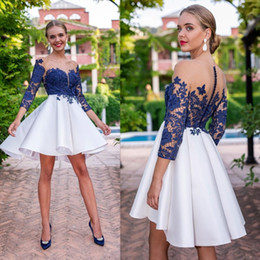 LiLac skirts online shopping - Lace Homecoming Dresses Illusion Long Sleeves Sheer Neck Short Formal Party Prom Gowns Mini Skirt Modern Special Cocktail Dress