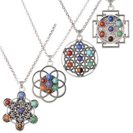 crystal cages NZ - 6 Styles New Red Agate 7 chakra Yoga Pendant Necklace flower Cross Open cages charm Natural Crystal Stone Energy Necklace Jewelry Gift M194R