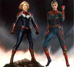 $enCountryForm.capitalKeyWord Australia - Avengers Endgame Captain Marvel Costume 3D Original Movie Woman Superhero Costume Zentai Suit Halloween