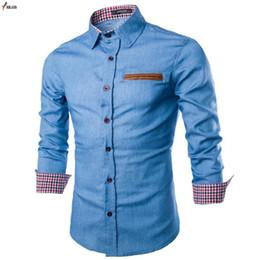 7c0f114cbc4 2019 New Spring Autumn Men Casual Shirts 100% Cotton Collar Button-Down Long  Sleeve Slim Fit Men Denim Shirt Camisa Masculina