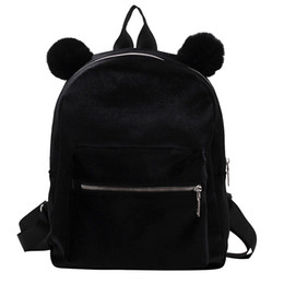 girls hand bags new style 2019 - Women Girl Velour Backpack Student Hairball Travel School Crossbody Bag Hand New Arrival 2019 Hot Sale High Quality #Zer