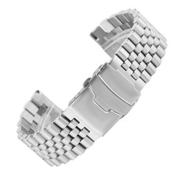 solid gold wristwatch 2019 - Timekeeper 24MM Classic Silver Stainless Steel Solid Watch Band Fashion Folding Buckle Watch Band High Quality Wristwatc