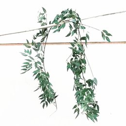 Party Flowers Celebration Decoration Australia - Simulation Flower Vine Wedding Celebration Willow Leaf Green Color Sliver Wall Hanging Romantic Rattan Party Decoration New Arriaval 16hzE1
