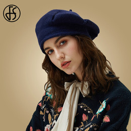 3e59c4f9648c6 FS 2019 New Winter Knitted Hats Women Warm Wool Hat Vintage Black Lady  Painter Solid Color Beret Female Beanies Hot Artist Caps