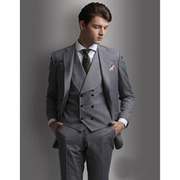 charcoal grey three piece suit Australia - Handsome Groomsmen Charcoal Grey Groom Tuxedos Mens Wedding Dress Man Jacket Blazer Prom Dinner 3 Piece Suit(Jacket+Pants+Tie+Vest) A57