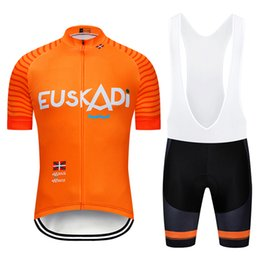 China New orange EUSKADI cycling team jersey 20D bike shorts suit Ropa Ciclismo mens summer quick dry bicycle Maillot Pants clothing cheap men bike suit suppliers