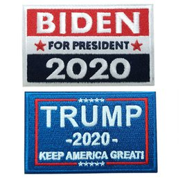 Wholesale usa american flag clothing resale online - 2020 American Election Embroidery Stickers Trump Biden Magic Sticker USA Flag Sticker For Clothes And Bag