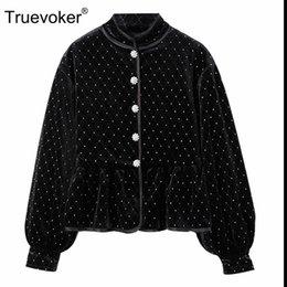 Full Diamonds NZ - Truevoker Spring Designer Velvet Jacket Women's High Quality Full Sleeve Stand Collar Diamond Crystal Buttons Velour Outerwear