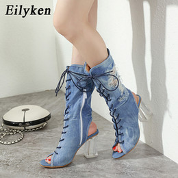 denim peep toe UK - Eilyken 2020 New Women Ankle Boots Blue Denim Gladiator Crystal Clear High heels Boots Sandals Cross Tied Peep Toe Ladies Boot