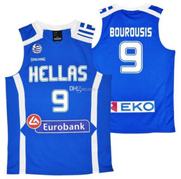 custom basketball jerseys Australia - #9 Ioannis Bourousis Team Hellas Greece Eurobank Retro Classic Basketball Jersey Mens Stitched Custom Number and name Jerseys