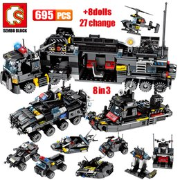 helicopter military UK - SEMBO 695PCS SWAT Military Series Truck Car Building Blocks City Police Helicopter Ship Figures Bricks Toys for Children