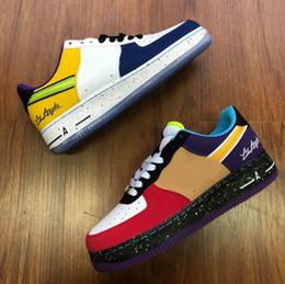 Großhandel NIKE AIR FORCE 1 ONE 2020 Los Angeles für Männer Frauen CUT niedrigen Skateboardschuhe Leder Skate-Schuhe Größe EUR36-45
