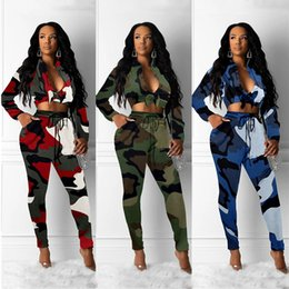 army outfit pieces Australia - Women Camouflage jacket legging outfits Camo 2 piece set outerwear tights sports suit long sleeve V-neck Tops pants set LJJA3259-4