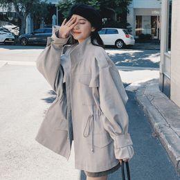 $enCountryForm.capitalKeyWord Australia - 2019 Spring Women Coat Gray Trumpet Sleeve Handsome Collar Drawstring Waist Windbreaker Jacket Female Trench Coat Women