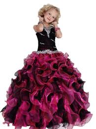 $enCountryForm.capitalKeyWord UK - 2019 New Blue Ball Gown Flower Girls Dresses Burgundy Appliqued Jewel Girls Formal Pageant Dresses Birthday Wedding Party Gowns Custom Made