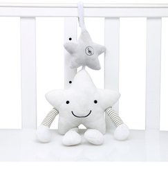 musical chimes Canada - Plush Musical Mobile Wind Chimes White Star Accompany Toy Hanging on the Bed Gift for Babies