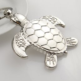 Silver Favor Bags Australia - New silver turtle tortoise keychains ring animal alloy keychain women keyring bag car charm pendant jewelry gift