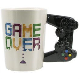 ceramic games NZ - 1Pcs Game Over Coffee Mug 3D Game Controller Handle Office Coffee Ceramic Cup Mug Nerd Mug Gameboy Gamer Gift