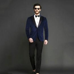Gray Tuxedo For Party Australia - Royal Blue Velvet Smoking Jacket Men Suits for Wedding Groom Tuxedos Man Blazer 2Piece(Coat+Pants)Costume Homme Prom Party Black Peak Lapel
