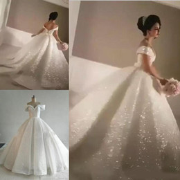 Bling A-line Sequin Wedding Dresses Off-Shoulder Chapel Train Glitter Glued  Lace Real Image Cinderella Sexy Puffy Bridal Gowns d7cf0a667072