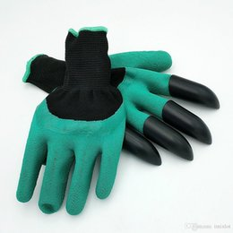 Discount hot normal women - Hot Sale Rubber Garden Gloves With 4 ABS Plastic Fingertips Claws For Gardening Raking Digging Planting Latex Work Glove