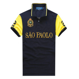 polo big horse UK - Free shipping Embroidery 2019 High Quality Male Tops&Tees shirts Short Sleeve embroidery Turn-down collar city big horse Polo men's T-Shirt