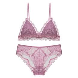 Pholeey French Women V-neck Bras Underwear Set Lace Triangle Cup Sleep Bra  Sets Lingerie Cotton Ultrathin Bra Briefs Sui e7d30bc9d