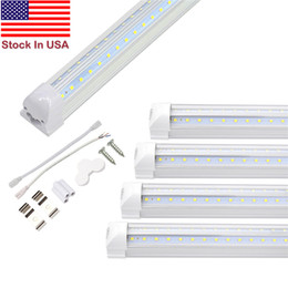 Luz LED para Taller, 8 Ft, 72 W, 7200LM, 6500 K, Luz de Tubo Led Integrada, Forma en V y Doble Fila T8, Blanco Frío, Cubierta Transparente, Salida Hight on Sale