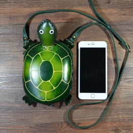 cute tortoise cartoon 2019 - Handmade genuine Leather shoulder Bag Cute Cartoon tortoise Bag Cowhide mini messenger cheap cute tortoise cartoon