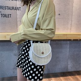 shell snap button NZ - Grass Knitting Magnetic Snap Handbag Casual Shell Shape Single Shoulder Bag Fashion Square Cross Body Bags