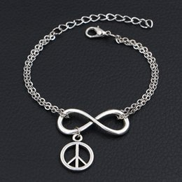$enCountryForm.capitalKeyWord Australia - Bohemian Style Double Infinity Love Round Hollow Peace Sign Symbol Pendants Charm Bracelets For Women Men Link Chain Cuff Jewelry Party Gift