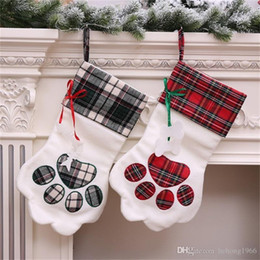 Wholesale hot dog holder for sale – custom New Creative Blanks Plaid Decor Cuff Gift Holder Dogs Paw Shape Socks Plush Christmas Stocking Two Kinds Party Supplies Hot Sale yh