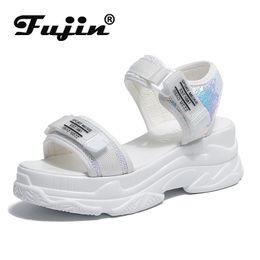 $enCountryForm.capitalKeyWord Australia - Fujin High Heeled Sandals Female Summer 2019 Women Thick Bottom Wedge With Open Toe Platform Increased Shoes Y190704