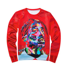 portrait 3d UK - Free shipping 2018 Fashion new red listing portrait 3D printed men's round neck sweater cxy35