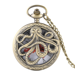 Unique Watches For Men Australia - Unique Hollow Octopus Cover Quartz Pocket Watch Necklace Bronze Grey Color Fob Watches for Men Women 2019 New Clock Gift for Kid
