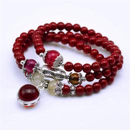 $enCountryForm.capitalKeyWord UK - Natural Fashion 6mm red Stone Beads Tibetan Buddhist Prayer Beads Necklace Gourd mala Prayer Bracelet for Meditation