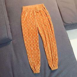 Wholesale print wide pants elastic waist resale online – 3D embossed golden velvet leg pants loose oversize thin harem autumn and winter casual sweatpants