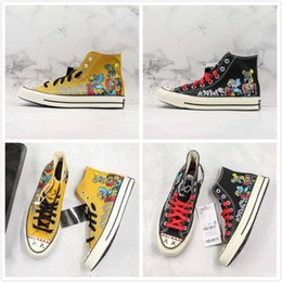 $enCountryForm.capitalKeyWord Australia - Latest Sesame Street Covase Chuck 1970s Star X KAWS High OG Hand Painted Canvas Shoes Black Yellow Limited Designer Sports Casual Sneaker