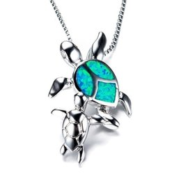$enCountryForm.capitalKeyWord Australia - 925 Silver Mom and Baby Turtle Blue Fire Opal Necklace Pendant Women Fashion Jewelry Gifts Anniversary Day Gift