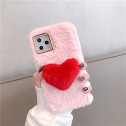 iphone luxury metallic 2020 - Case For iPhone 11 Pro Max Heart Love Rabbit Genuine Hair Bling Chromed Metallic Fluffy Fur Girl Soft TPU Cute Holder Co